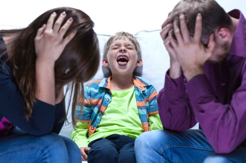 Ребенок в истерике и родители